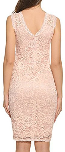 bf99f70fe0a7 Damen Kleid LOBTY Sommer Kurz Etuikleid Spitzekleid Sommerkleid Minikleid  Abendkleid Cocktailkleid Spitze Eng Rundhals Ärmellos Schulterfrei