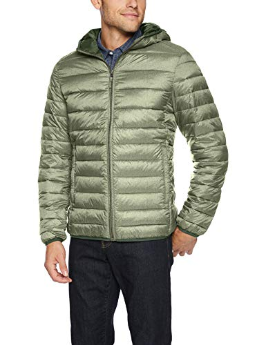 Amazon Essentials Men's Lightweight Water-Resistant Packable Hooded Puffer Jacket, Olive Heather, Small