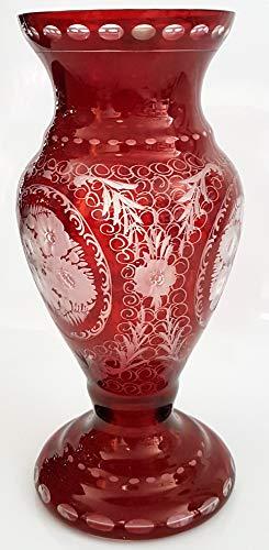 Oberstdorfer Glashütte Antique Vase Egermann Original Glass Very Filigree Cut Bohemian Glass Vase Ruby Red Crystal Glass Height Approx 30 cm