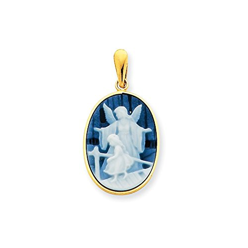 Quinn's Gold 14k 13x18mm Guardian Angel & Young Girl Agate Cameo Pendant ()