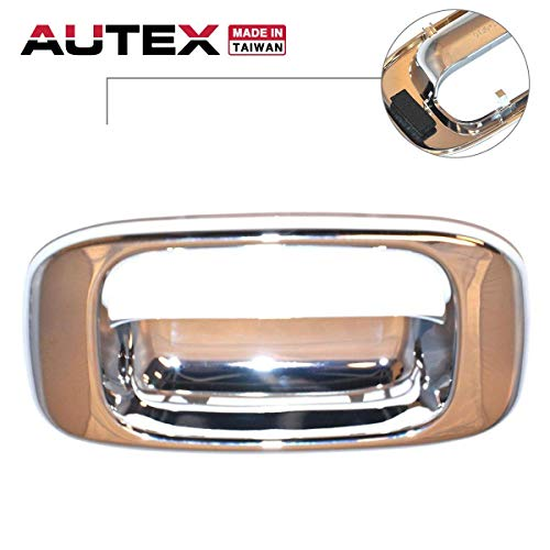 AUTEX Chrome Tailgate Handle Bezel Door Handle Liftgate Rear Hatch Compatible with GMC Sierra,Chevrolet Silverado 1500 2500 3500 Classic 99-07 91134 15046-512CH 15046512CH ()