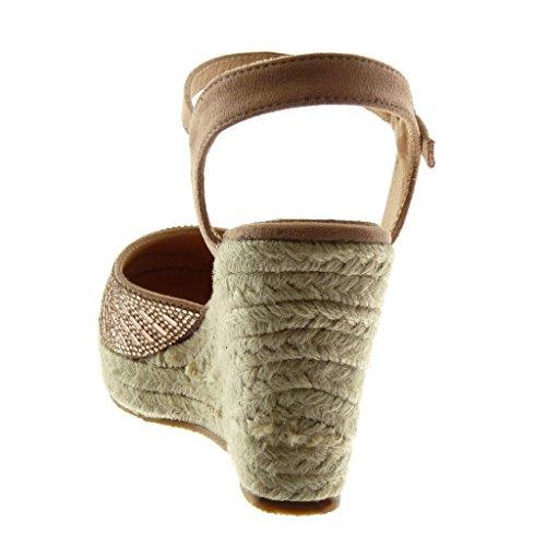 Angkorly Damen Schuhe Sandalen Mule - Plateauschuhe - Knöchelriemen - Strass - Seil - Geflochten Keilabsatz High Heel 10 cm Rosa