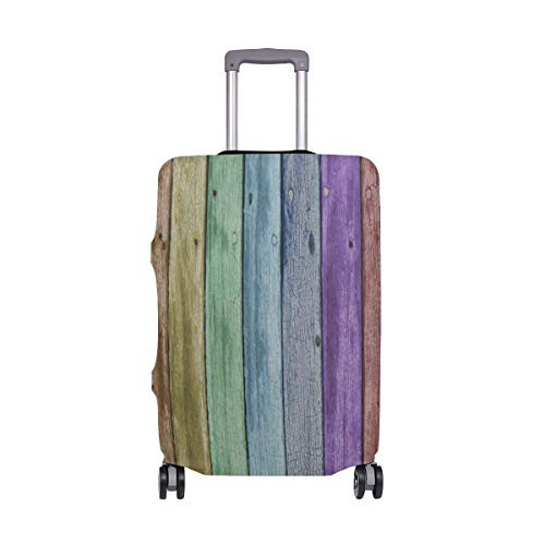 Suitcase Cover Rainbow Color Wooden Plank Luggage Cover Travel Case Bag Protector for Kid Girls
