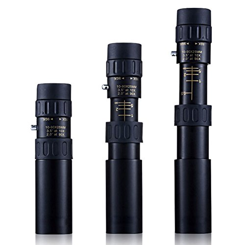 Ueasy Compact Scalable Monocular 10x to 90x Zoom 25mm Pocket Size Mini Hd Telescope Monocular with Tripod