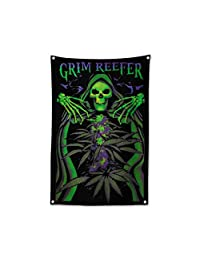 """Grim Reefer Skull Marijuana Leaf Flags Cannabis Weed Poster Flags Reefer Grass Tapestry 36"""" X 24"""""""