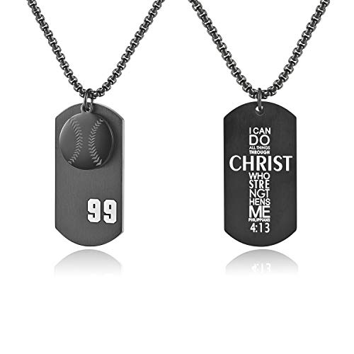 VI.SPORT Baseball Dog Tag Player Number 99 Necklace Christian Pedant Philippians 4:13 Jewelry Religious Verse I Can Do All Things Jewelry