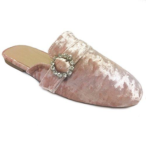 Shoe Sandal Velvet Women Flat Slide Mule Oxford Loafer Snj On Jeweled Slip Pink 78dq0BdHw