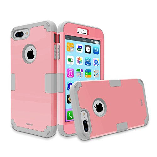 Case for iPhone 7 Plus , Three Layers Defender Shockproof Drop Proof High Impact Hybrid Armor Silicone Rugged Case Full-Body Protective Cover for Apple iPhone 7 Plus (Pink/Grey)