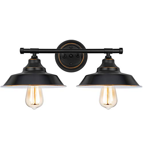 2-Light Bathroom Vanity Light Industrial Wall Sconce Bathroom Lighting Fixture Black Baking Paint with Highlight