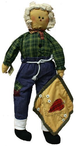 Boy Rag Doll 24 Inches with Green Plaid Dress and Blue Patchwork Jeans with Quilt by Joiner Co.