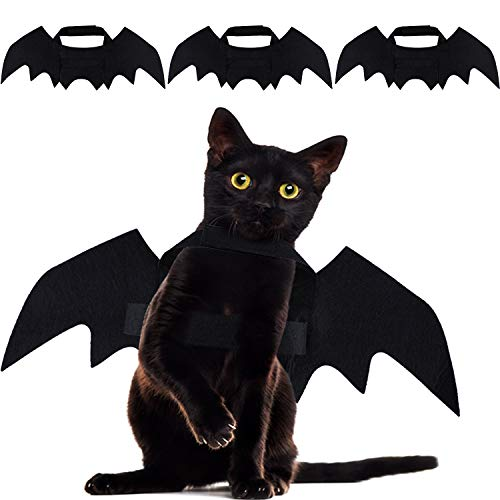 Dog Dressed As A Cat (Frienda 3 Pieces Halloween Pet Bat Costume Wings Cat Dog Bat Costume Halloween Cosplay Costume for Halloween Vampire Party Pet)