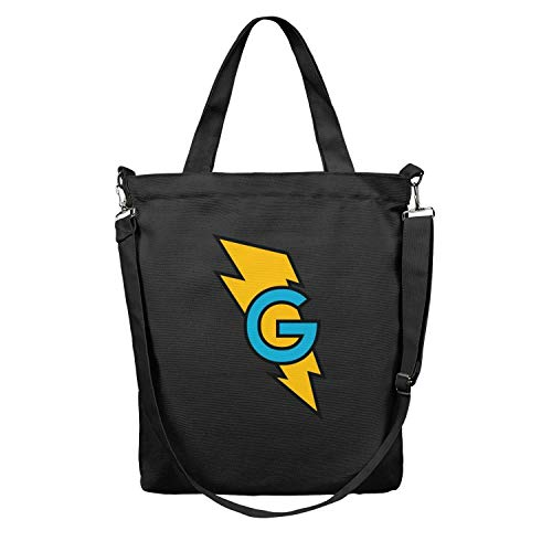 32 x 38cm 12.5 x 15 Inch Womens black Folding Cloth Organic Cotton Super-grover-lighting-logo-muppet-Zip Shoulder Shopping Crossbody Canvas Craft Tote Bags with Handles Inner Pockets