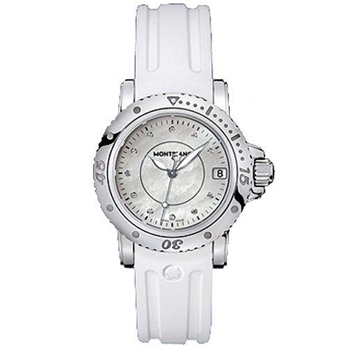 Montblanc Deporte femenino 103893 plata goma Swiss vestido de cuarzo reloj
