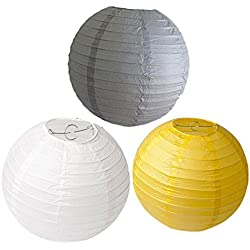 HEARTFEEL 8 inch Pack of 6 Chinese Paper Lanterns Lamp Shade White Grey Yellow Mixed Colors for Wedding Party Decoration Baby Shower Birthday Decoration Round Paper Lantern