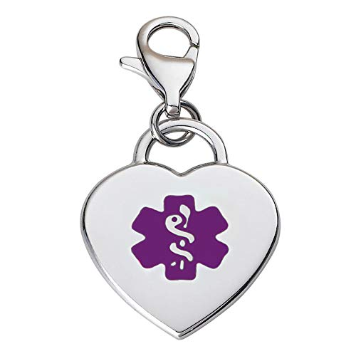 Divoti Deep Custom Laser Engraved Adorable Heart 316L Medical Alert Charm/Medical ID Charm w/Lobster Clasp-Purple