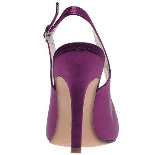 Loslandifen Donna Elegante Raso Scarpe A Punta Pompe Cinturino Alla Caviglia Tacco Alto Scarpe Da Sposa Viola