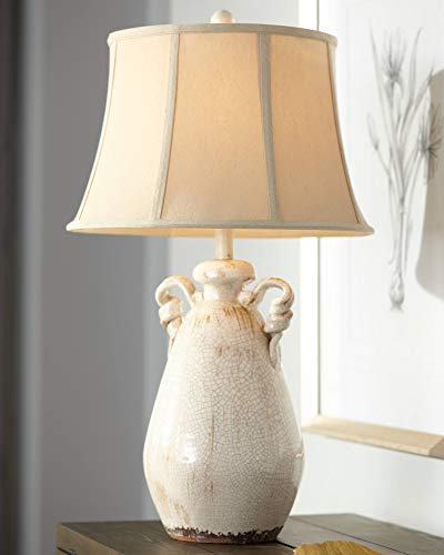 Isabella Cottage Accent Table Lamp Rustic Ivory Ceramic Milk Jar Crackle Beige Bell Shade for Living Room Family Bedroom - Regency Hill (Cottage Accents)