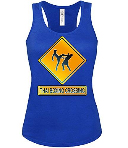 THAI BOXING CROSSING mujer camiseta Tamaño S to XXL varios colores S-XL Azul / Blanco