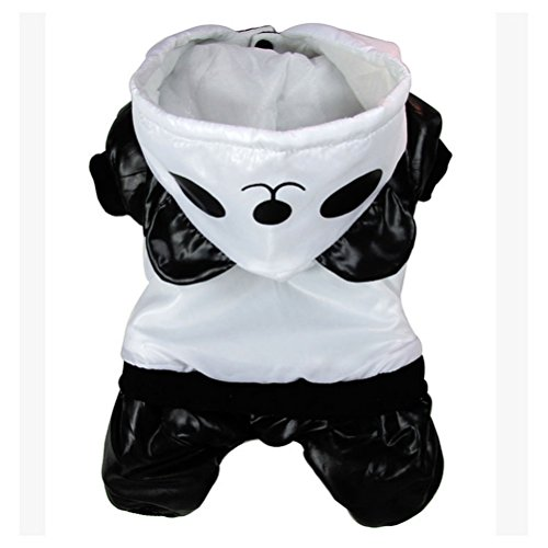 Zunea Waterproof Small Dog Snowsuit Hooded Padded,Puppy Cat Winter Jumpsuit Warm Coat Outfits Pet Jacket Trench Windproof Cute Panda Costume Halloween Clothes Apparel M