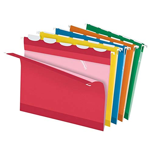 (Pendaflex Ready-Tab Reinforced Hanging Folders, Letter Size, Assorted Colors, 5 Tab, 25/BX (42592))