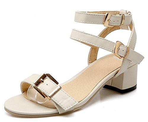 IDIFU Women Elegant Three Buckles Ankle Strap Low Chunky Heels Sandals Shoes Beige