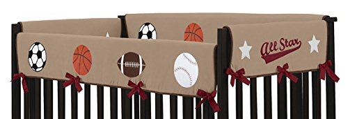 Sweet Jojo Designs All Star Sports Long Front Rail Guard Baby Boy Teething Cover Protector Crib Wrap