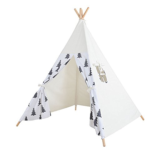 Kids Teepee Play Tent - 5' Feet Tall Large Premium Handcrafted Indoor Children Indian Tent by Wonder Space, Ideal Activity Play Center Playroom for Toddlers & Kids (Grey (La India Maria Costume)