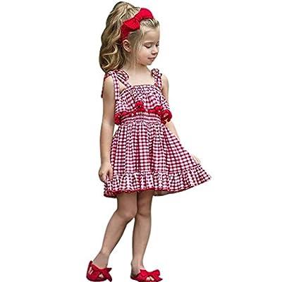 NUWFOR Toddler Kids Baby Girls Condole Belt Tassel Plaid Skirt Princess Dresses Clothes
