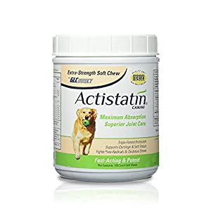Actistatin Canine Large Dog Soft Chews, 120ct – Patented Extra-Strength Joint, Cartilage, Soft Tissue Supplement: Glucosamine, Chondroitin, Manganese, MSM, L-Carnitine – High Absorption, Fast Results