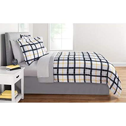 Amazoncom Full Gray And Mustard Plaid Bed In A Bag Bedding Set