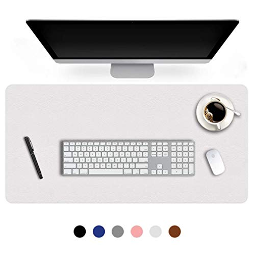 17 X 36 Inch Office Desk Pad Table Protector on Top of Desks PU Leather Desk Blotter Laptop Computer Gaming Under Keyboard Mouse Pad Waterproof Writing Mat Desktop Cover for Women Men Kids Girls White