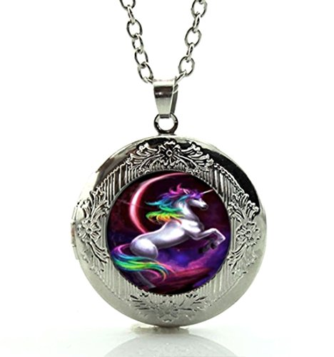 DianaL Boutique Silver Tone Unicorn Horse Rainbow Locket Pendant Necklace Glass Cabochon Art Picture Fashion Jewelry ()
