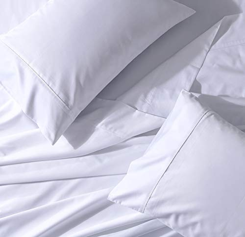 (Abripedic Solid White Standard Pillowcases, Crispy Soft Cotton Percale Set of 2 Pillow Cases)
