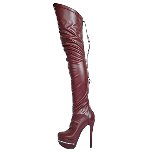 VOCOSI Women's Sky High Heels Platform Shoes Over Knee Boots Club Party for Girls Boots Burgundy