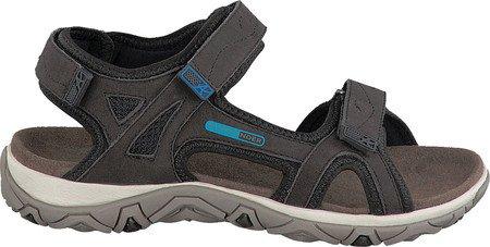 Allrounder Av Mephisto Kvinna Larisa Sport Sandal Antracit Tech Nubuck / Svart Lycra