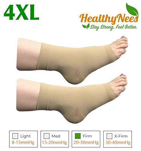 HealthyNees Extra Wide Ankle Big Feet 20-30 mmHg Compression Swelling Foot Pain Circulation Plus Size Sock Open Toe Sleeve (Beige, Wide Ankle 4XL)