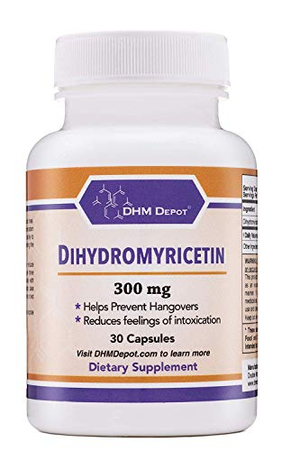 Dihydromyricetin (DHM) (Hovenia Dulcis Extract) Scientifically Formulated Hangover Prevention, Hangover Cure (Naturally Obtained from The Oriental Raisin Tree) 30 Capsules 300mg
