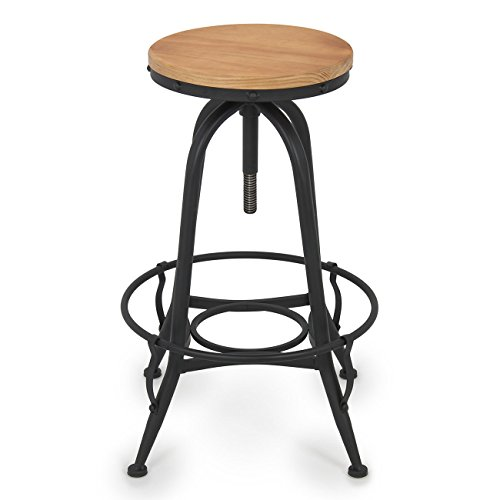 New Vintage Bar Stool Industrial Steel Design Wood Top Adjustable Height Swivel (Wicker Bar Stools For Less)