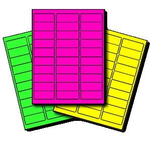 450 Label Outfitters High-Visibility Labels in Assorted Neon Colors for Laser Printers 5979, 1