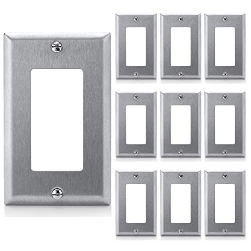 [10 Pack] BESTTEN Decorator Metal Wall Plates, 1 Gang Standard Stainless Steel Outlet Cover, Durable Corrosion Resistant, Industrial Grade 304SS Material, UL Listed, Silver