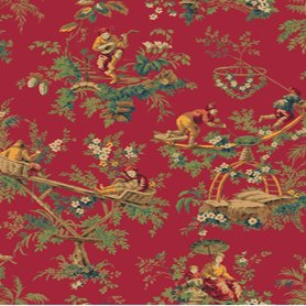 Wallpaper high end asian oriental multi color toile red for Oriental style wallpaper uk