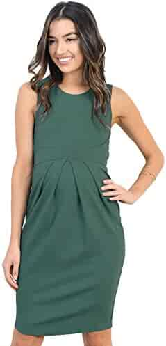 b322573a759af LaClef Women's Knee Length Front Pleated Sleeveless Midi Maternity Dress