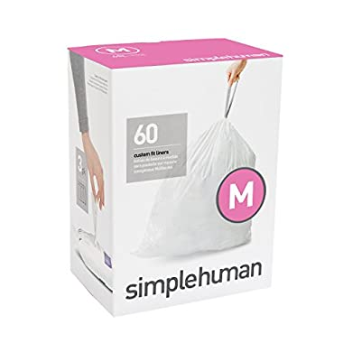 simplehuman Code M Custom Fit Liners, Tall Kitchen Extra Strong Trash Bag, 45 Liter / 12 Gallon, 3 Refill Packs (60 Count)