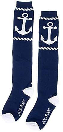 """Sourpuss 17"""" Rope Anchor Socks Navy/White"""