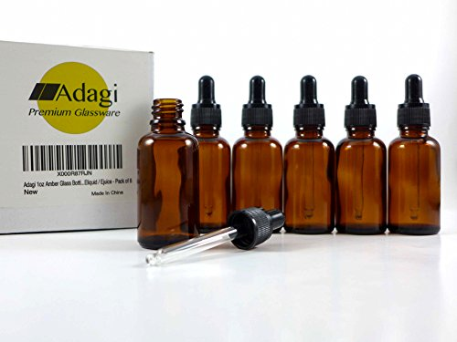 Adagi 1oz Amber Glass Bottles with Ball-Tip Medicine Dropper for Essential Oils,tinctures, Eliquid / Ejuice - Pack of 6