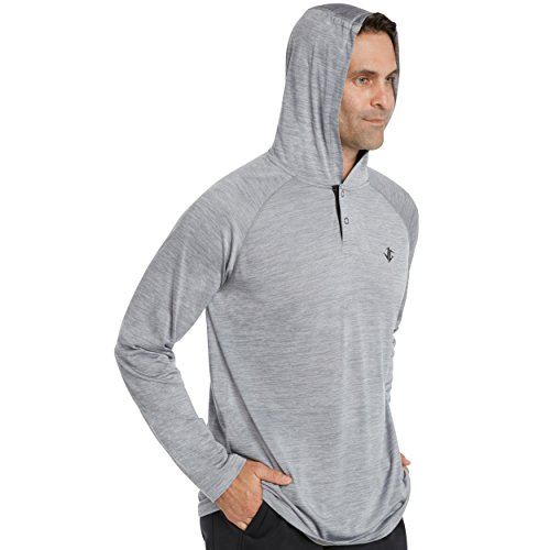 Three Sixty Six Mens Hoodies Pullover - Long Sleeve Casual Hoodie for Men - Lightweight Thin Hooded Sweater T Shirt Platinum Grey