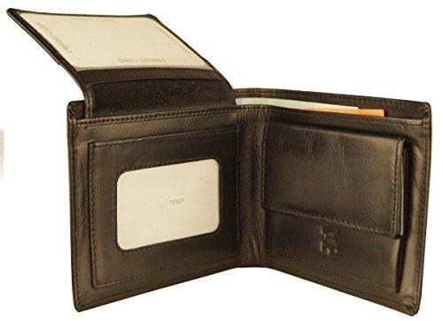 Hill Burry Geldbörse aus hochwertigem feinen Leder Querformat KD70107 (Schwarz)