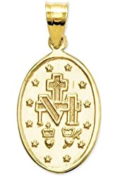 14K Yellow Gold Oval Miraculous Medal - Available in Three Sizes Inch in 14K Yellow Gold