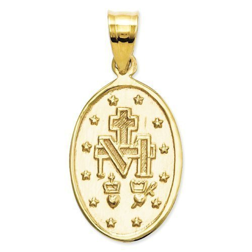 14K Yellow Gold Oval Miraculous Medal - 1/4 Wide Inch X 1/2 Tall Inch in 14K Yellow ()