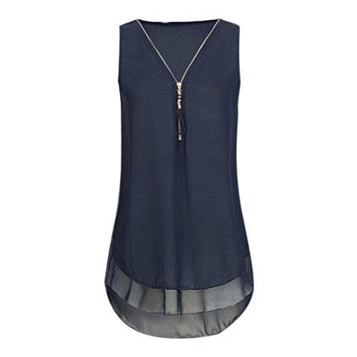 iYBUIA Women Loose Sleeveless Solid Tank Top Cross Back Hem Layed Zipper V-Neck T Shirts Tops (Designer Outlet New Jersey)